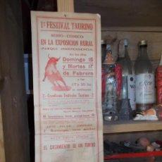Carteles Toros: MUY ANTIGUO CARTEL DE TOROS EN PAPEL, FESTIVAL TAURINO. Lote 54938212