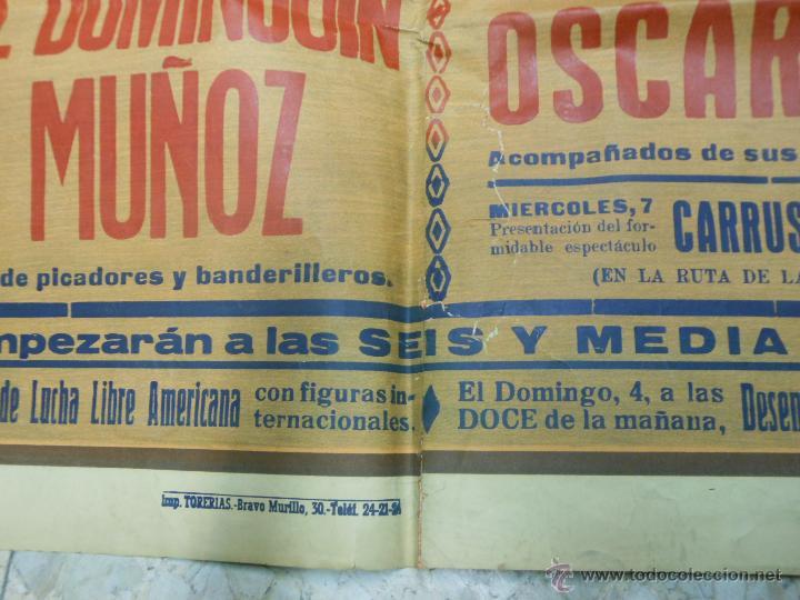 Carteles Toros: 1949 CARTEL GIGANTE DE TOROS DE CUENCA POR J. REUS - LUIS Y PEPE DOMINGUIN - JULIO APARICIO - Foto 7 - 54951571