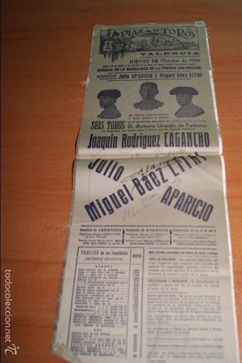CARTEL DE TOROS DE SEDA 12 OCTUBRE 1950 ALTERNATIVA DE JULIO APARICIO Y LITRI (Coleccionismo - Carteles Gran Formato - Carteles Toros)