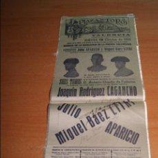 Carteles Toros: CARTEL DE TOROS DE SEDA 12 OCTUBRE 1950 ALTERNATIVA DE JULIO APARICIO Y LITRI. Lote 55235438