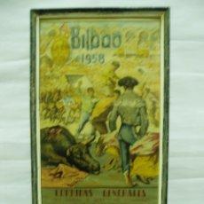 Carteles Toros: CARTEL DE TOROS ENMARCADO DE BILBAO 1958. Lote 56126857