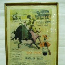 Carteles Toros: CARTEL DE TOROS DE JEREZ SEDA 1967 ENMARCADO. Lote 98609020