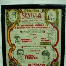 Carteles Toros: CARTEL DE TOROS 12 OCTUBRE 1993 SEVILLA LA MAESTRANZA, CURRO ROMERO Y ESPARTACO ENMARCADO. Lote 56161611