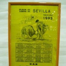 Carteles Toros: CARTEL DE SEDA SEVILLA 1995, FERIA DE ABRIL, CURRO ROMERO, RUIZ ESPARTACO, PEDRITO DE PORTUGAL. Lote 56161981