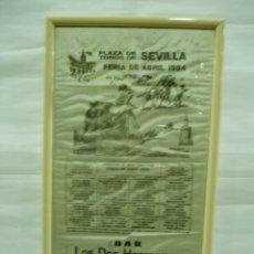Carteles Toros: CARTEL PLAZA DE TOROS DE SEVILLA , FERIA DE ABRIL 1994, CURRO ROMERO, FINITO DE CORDOBA, ESPARTACO. Lote 56162130