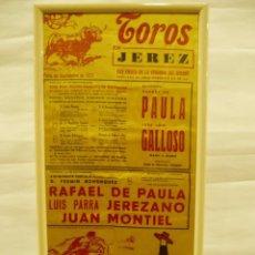 Carteles Toros: CARTEL DE SEDA TOROS DE JEREZ, 1977, RAFAEL DE PAULA, LUIS PARRA (JEREZANO), JUAN MONTIEL. Lote 56162194