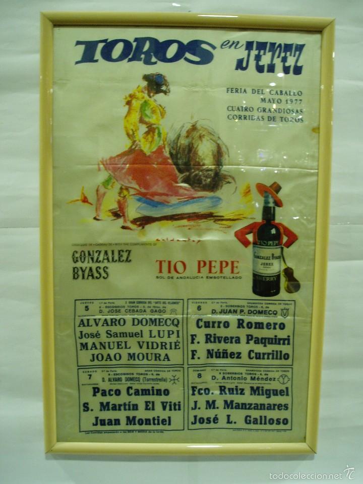 CARTEL DE SEDA 1977 JEREZ, FERIA DEL CABALLO, LUPI, PACO CAMINO, CURRO ROMERO, RIVERA PAQUIRRI, (Coleccionismo - Carteles Gran Formato - Carteles Toros)