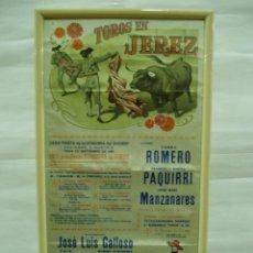 Carteles Toros: CARTEL EN SEDA TOROS EN JEREZ 1980, CURRO ROMERO,RIVERA PAQUIRRI, MANZANARES. Lote 56162340