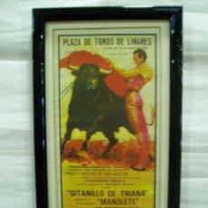 Carteles Toros: CARTEL DE TOROS DE LINARES 1947, ENMARCADO, GITANILLO DE TRIANA, MANOLETE, LUIS MIGUEL DOMINGUÍN.. Lote 56723534