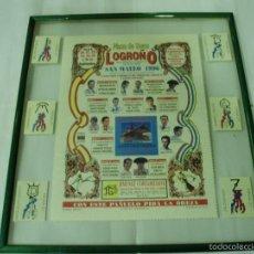 Carteles Toros: CARTEL DE TOROS DE SEDA LOGROÑO 1996 FIESTA DE LA VENDIMIA ENMARCADO. Lote 56724456