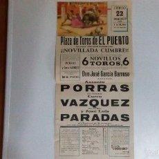 Carteles Toros: CARTEL DE TOROS DEL PUERTO. DEL AÑO 1969. Lote 56927629