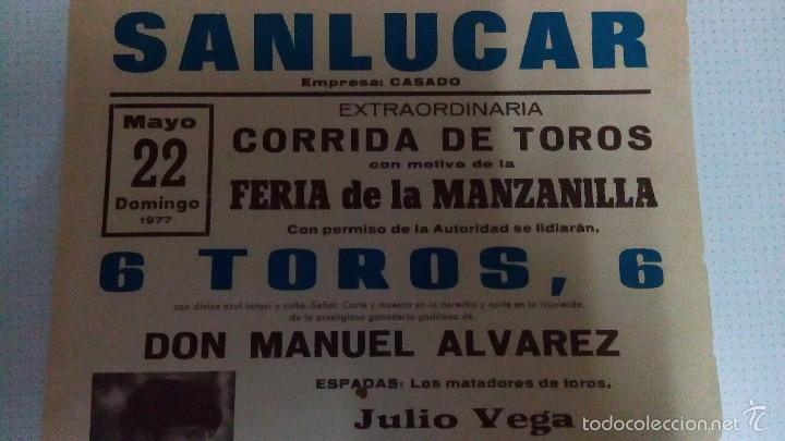 Carteles Toros: Cartel de toros de Sanlucar año 1977 - Foto 2 - 56927720