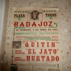 Carteles Toros: CARTEL DE TOROS PLAZA DE BADAJOZ , 1961. Lote 57280851
