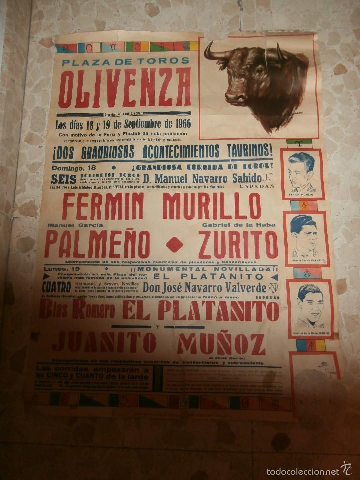 CARTEL DE TOROS PLAZA DE OLIVENZA , 1966 (Coleccionismo - Carteles Gran Formato - Carteles Toros)
