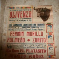 Carteles Toros: CARTEL DE TOROS PLAZA DE OLIVENZA , 1966. Lote 57280930