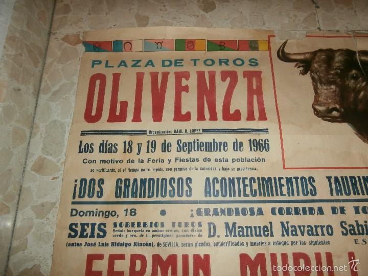 Carteles Toros: CARTEL DE TOROS PLAZA DE OLIVENZA , 1966 - Foto 2 - 57280930