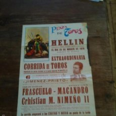 Carteles Toros: PLAZA DE TOROS DE HELLIN ,MIDE 39X20CM. Lote 57364346