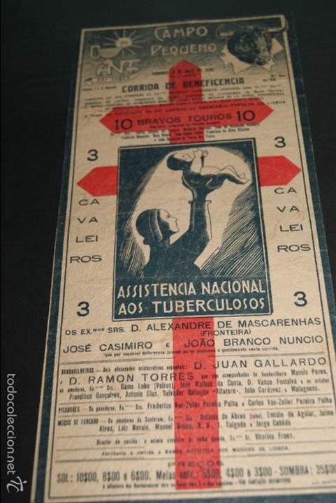 CARTEL DE TOROS DE PORTUGAL CAMPO PEQUENO 1930 CORRIDA BENEFICENCIA (Coleccionismo - Carteles Gran Formato - Carteles Toros)