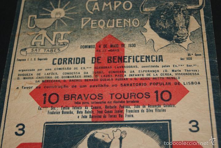 Carteles Toros: CARTEL DE TOROS DE PORTUGAL CAMPO PEQUENO 1930 CORRIDA BENEFICENCIA - Foto 3 - 57558675
