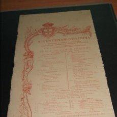 Carteles Toros: CARTEL DE TOROS DE PORTUGAL CAMPO PEQUENO 20 MAYO 1898 4º CENTENARIO DA INDIA . Lote 57558824