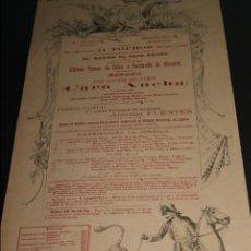 Carteles Toros: CARTEL DE TOROS DE PORTUGAL CAMPO PEQUENO LISBOA 23 DE ABRIL DE 1893 . Lote 57559039