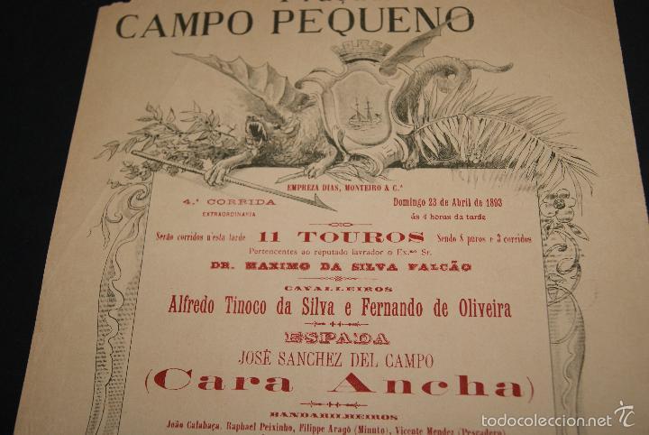 Carteles Toros: CARTEL DE TOROS DE PORTUGAL CAMPO PEQUENO LISBOA 23 DE ABRIL DE 1893 - Foto 2 - 57559039