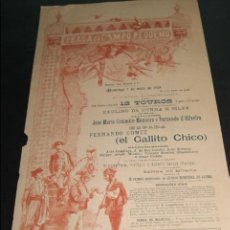 Carteles Toros: CARTEL DE TOROS DE PORTUGAL CAMPO PEQUENO LISBOA 7 DE MAYO DE 1893 . Lote 57559092