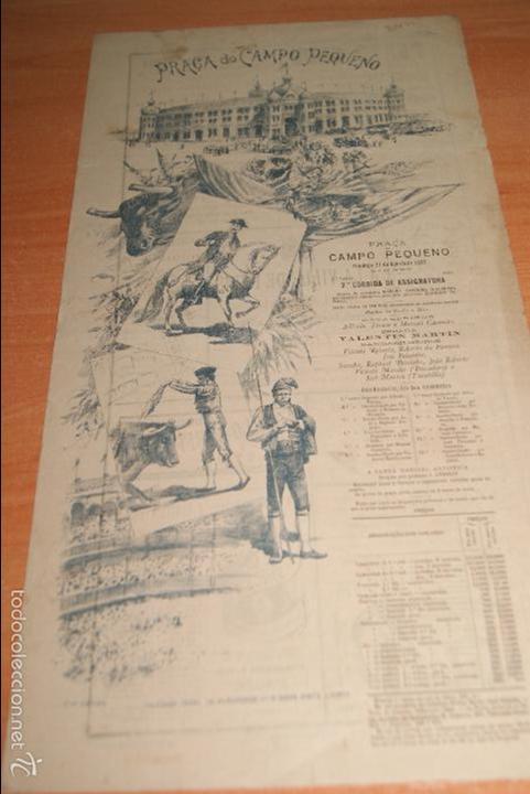 CARTEL DE TOROS DE PORTUGAL CAMPO PEQUENO LISBOA 21 AGOSTO 1892 ALTERNATIVA DE CASIMIRO DE ALMEIDA (Coleccionismo - Carteles Gran Formato - Carteles Toros)
