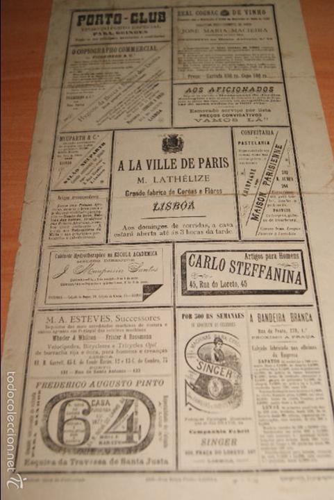 Carteles Toros: CARTEL DE TOROS DE PORTUGAL CAMPO PEQUENO LISBOA 21 AGOSTO 1892 ALTERNATIVA DE CASIMIRO DE ALMEIDA - Foto 2 - 57559202