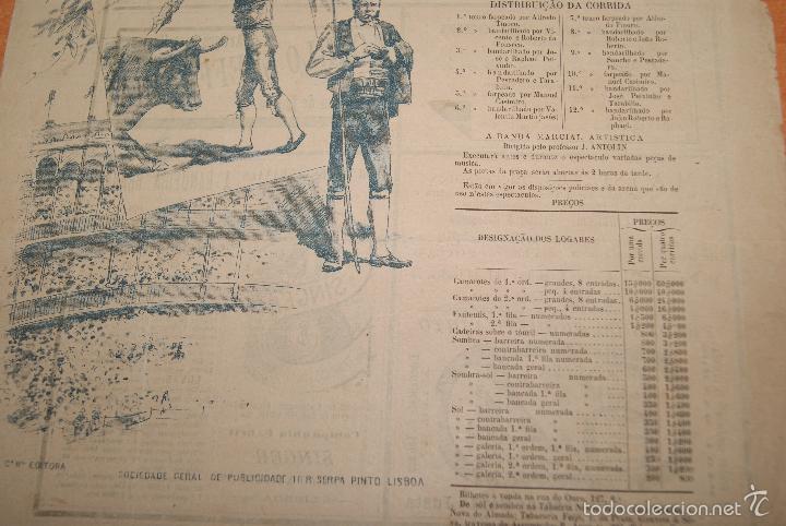 Carteles Toros: CARTEL DE TOROS DE PORTUGAL CAMPO PEQUENO LISBOA 21 AGOSTO 1892 ALTERNATIVA DE CASIMIRO DE ALMEIDA - Foto 3 - 57559202