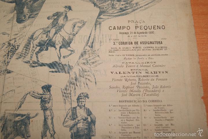 Carteles Toros: CARTEL DE TOROS DE PORTUGAL CAMPO PEQUENO LISBOA 21 AGOSTO 1892 ALTERNATIVA DE CASIMIRO DE ALMEIDA - Foto 4 - 57559202