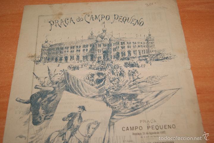 Carteles Toros: CARTEL DE TOROS DE PORTUGAL CAMPO PEQUENO LISBOA 21 AGOSTO 1892 ALTERNATIVA DE CASIMIRO DE ALMEIDA - Foto 5 - 57559202