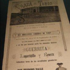 Carteles Toros: CARTEL DE TOROS DE SALAMANCA 11,12,13 DE SEPTIEMBRE DE 1894 GANDERIA MIURA VERAGUA Y VALLE . Lote 57573615