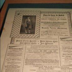 Carteles Toros: CARTEL DE TOROS DE MADRID DESPEDIDA DE RICARDO TORRES BOMBITA 19 OCTUBRE 1913. Lote 57575276