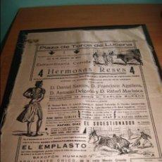 Carteles Toros: CARTEL DE TOROS DE LUCENA CORDOBA 15 AGOSTO 1933 SEDA . Lote 57592770