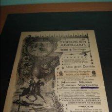 Carteles Toros: CARTEL DE TOROS DE ANDUJAR 25 JULIO 1917 . Lote 57613710