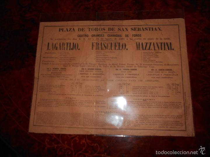 CARTEL TOROS AGOSTO 1885 SAN SEBASTIAN LAGARTIJO FRASCUELO MAZZANTINI TOROS DE V. MARTINEZ ETC. (Coleccionismo - Carteles Gran Formato - Carteles Toros)