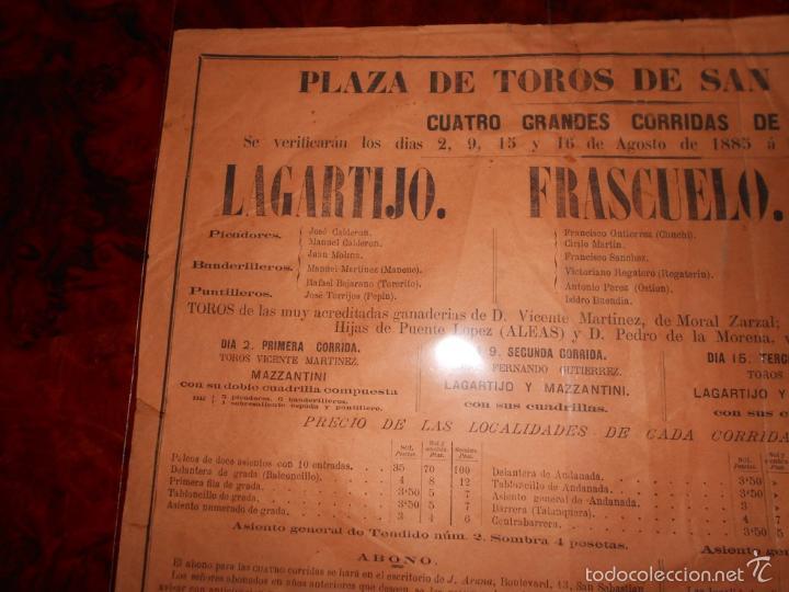 Carteles Toros: CARTEL TOROS AGOSTO 1885 SAN SEBASTIAN LAGARTIJO FRASCUELO MAZZANTINI TOROS DE V. MARTINEZ ETC. - Foto 2 - 58073535