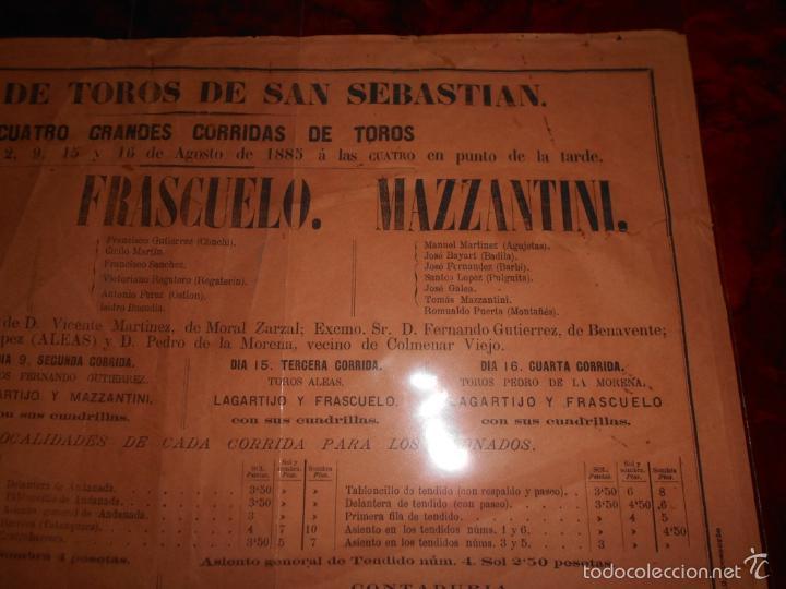 Carteles Toros: CARTEL TOROS AGOSTO 1885 SAN SEBASTIAN LAGARTIJO FRASCUELO MAZZANTINI TOROS DE V. MARTINEZ ETC. - Foto 3 - 58073535