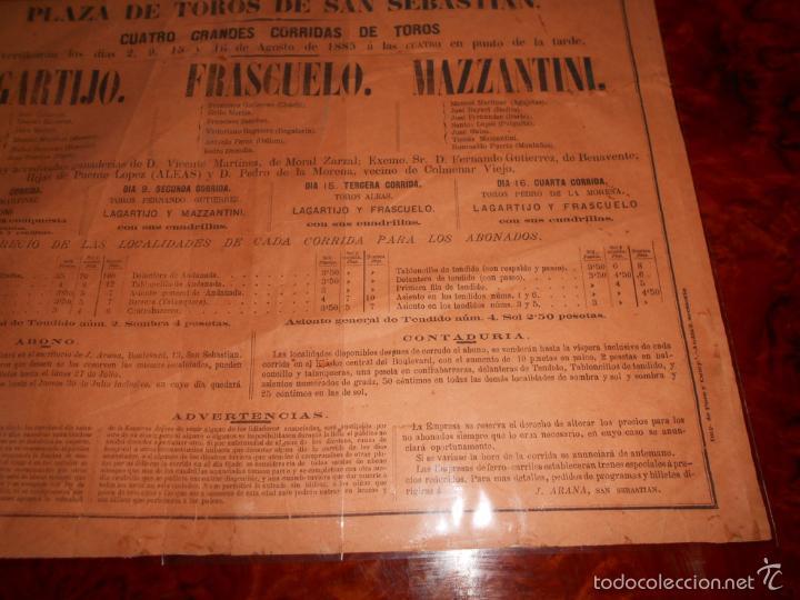 Carteles Toros: CARTEL TOROS AGOSTO 1885 SAN SEBASTIAN LAGARTIJO FRASCUELO MAZZANTINI TOROS DE V. MARTINEZ ETC. - Foto 5 - 58073535