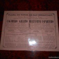Carteles Toros: CARTEL TOROS SAN SEBASTIAN AGOSTO 1886 LAGARTIJO GALLITO ESPARTERO MAZZANTINI TOROS ALEAS. Lote 58073807