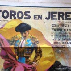 Carteles Toros: ANTIGUO CARTEL DE TOROS EN JEREZ CURRO ROMERO RAFAEL DE PAULA DOMECQ 1975. Lote 58116964
