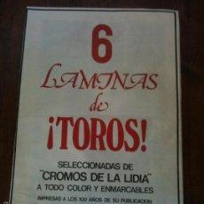 Carteles Toros: 6 LAMINAS DE TOROS SELECCIONADAS DE CROMOS DE LA LIDIA A TODO COLOR Y ENMARCABLES,1982. Lote 58195386
