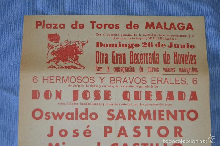Carteles Toros: Cartel Plaza Toros Málaga - 26 junio - becerrada de nóveles - cerveza Victoria 1960 - Foto 2 - 58276779