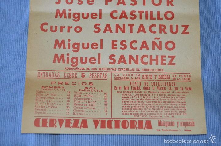 Carteles Toros: Cartel Plaza Toros Málaga - 26 junio - becerrada de nóveles - cerveza Victoria 1960 - Foto 3 - 58276779