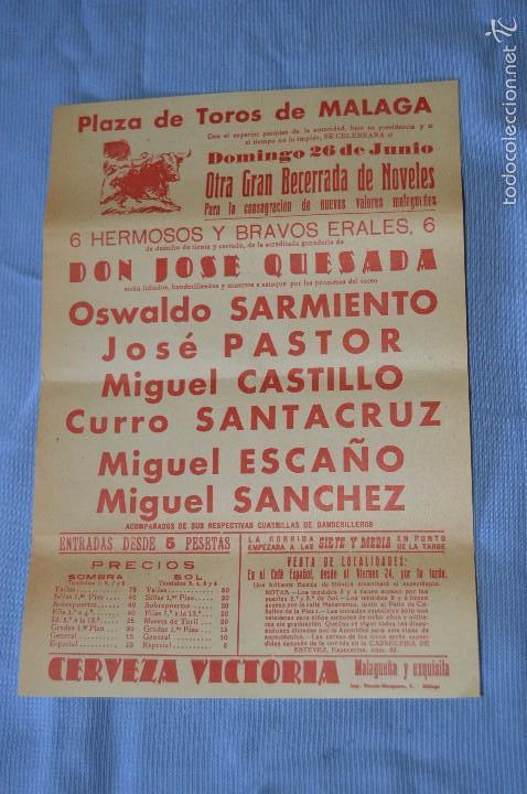 CARTEL PLAZA TOROS MÁLAGA - 26 JUNIO - BECERRADA DE NÓVELES - CERVEZA VICTORIA 1960 (Coleccionismo - Carteles Gran Formato - Carteles Toros)