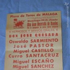 Carteles Toros: CARTEL PLAZA TOROS MÁLAGA - 26 JUNIO - BECERRADA DE NÓVELES - CERVEZA VICTORIA 1960. Lote 58276779