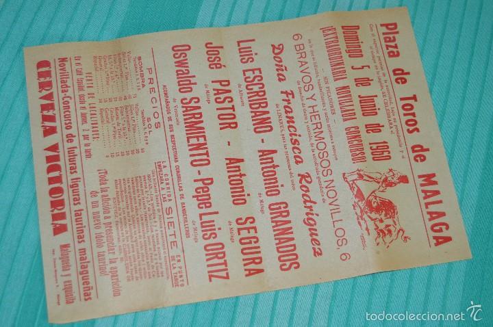 DOMINGO, 5 DE JUNIO DE 1960 - CARTEL DE TOROS ORIGINAL - PLAZA DE TOROS DE MÁLAGA (Coleccionismo - Carteles Gran Formato - Carteles Toros)
