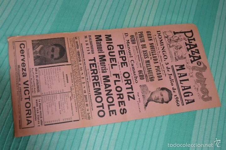 DOMINGO, 3 DE JULIO DE 1960 - CARTEL DE TOROS ORIGINAL - PLAZA DE TOROS DE MÁLAGA (Coleccionismo - Carteles Gran Formato - Carteles Toros)