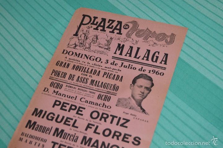 Carteles Toros: Domingo, 3 de Julio de 1960 - Cartel de toros original - Plaza de toros de MÁLAGA - Foto 2 - 58334836